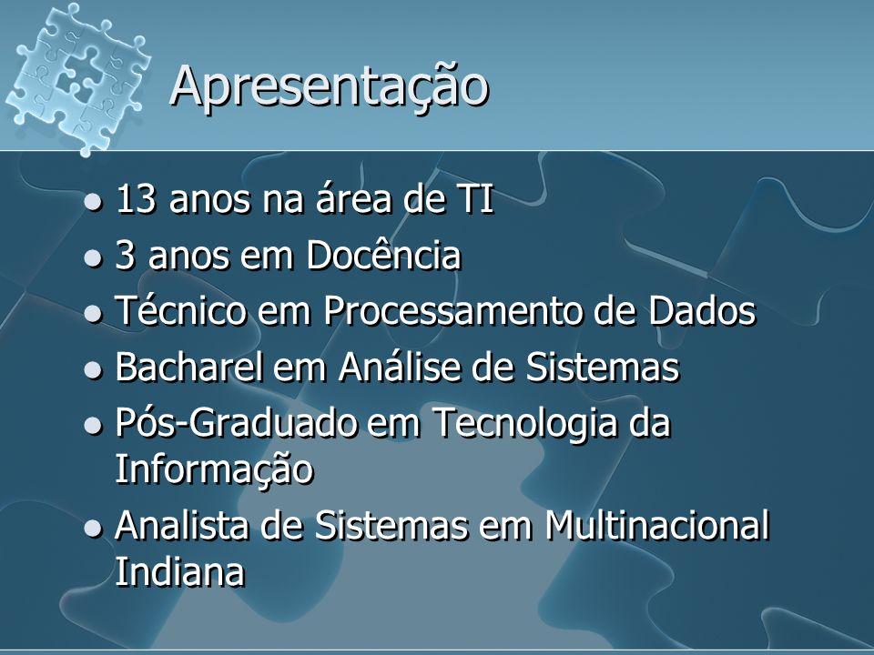 Apresentação 13 anos na área de TI 3 anos em Docência