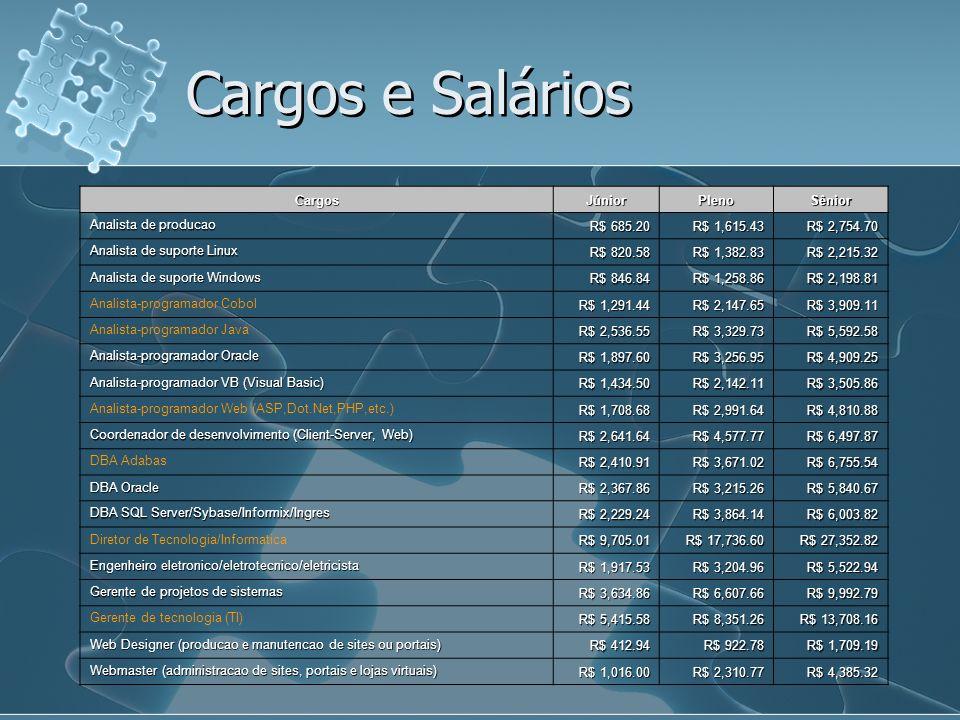 Cargos e Salários Cargos Júnior Pleno Sênior Analista de producao