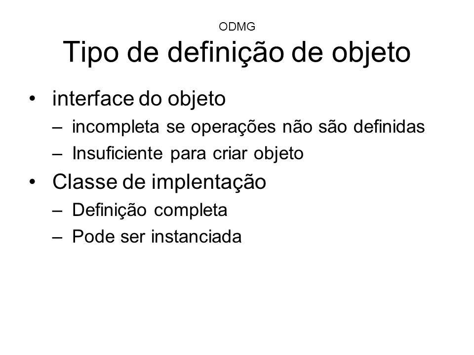 ODMG Tipo de definição de objeto