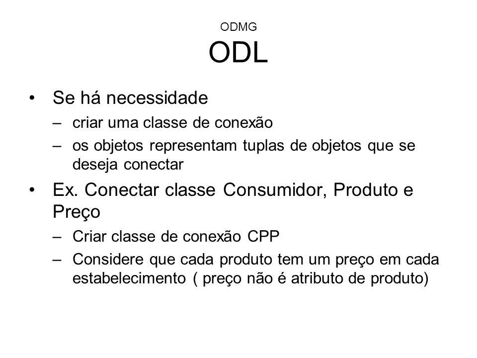 Ex. Conectar classe Consumidor, Produto e Preço