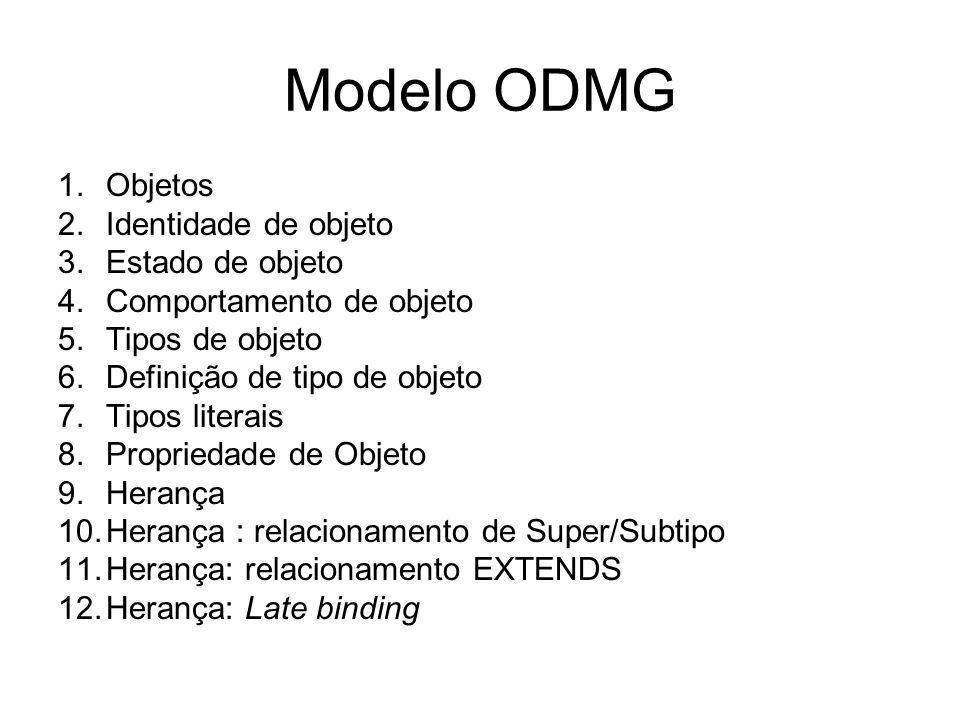 Modelo ODMG Objetos Identidade de objeto Estado de objeto