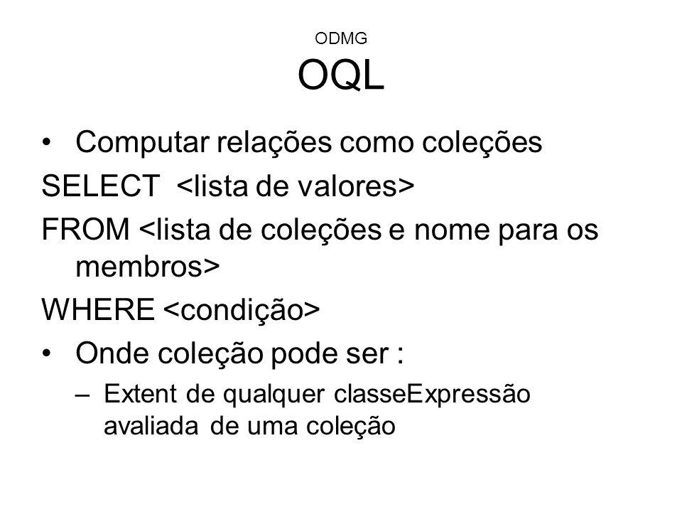 Computar relações como coleções SELECT <lista de valores>