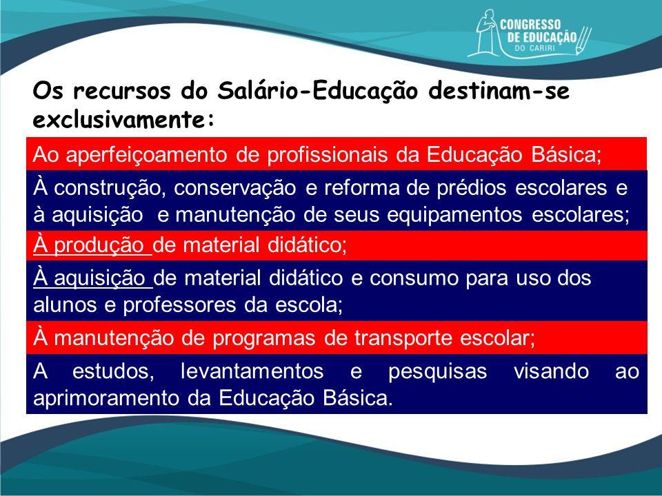 Os recursos do Salário-Educação destinam-se exclusivamente: