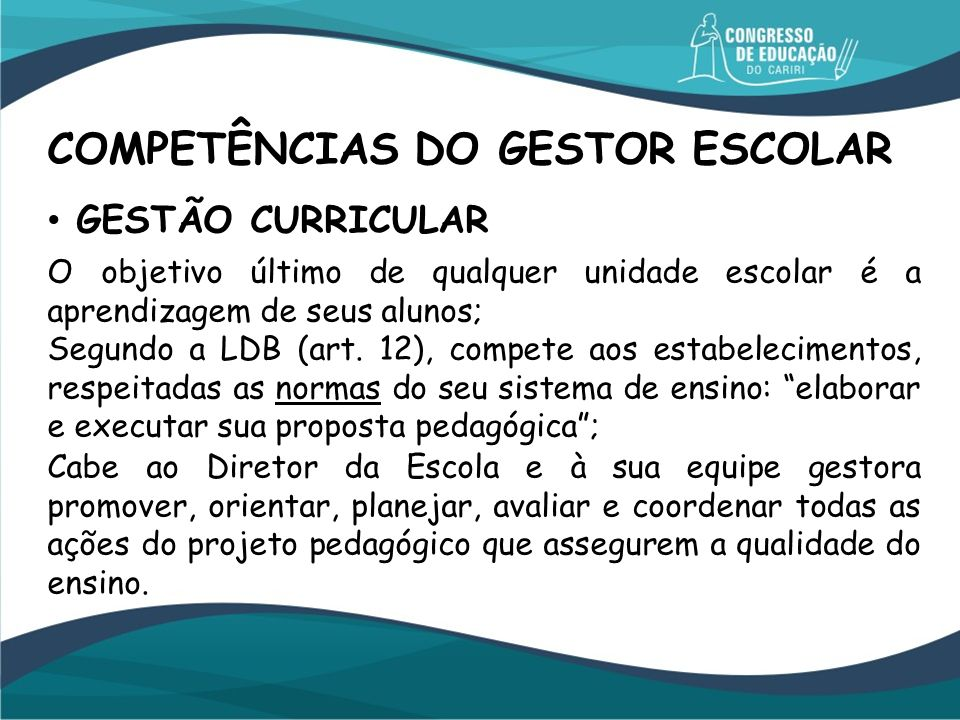 COMPETÊNCIAS DO GESTOR ESCOLAR