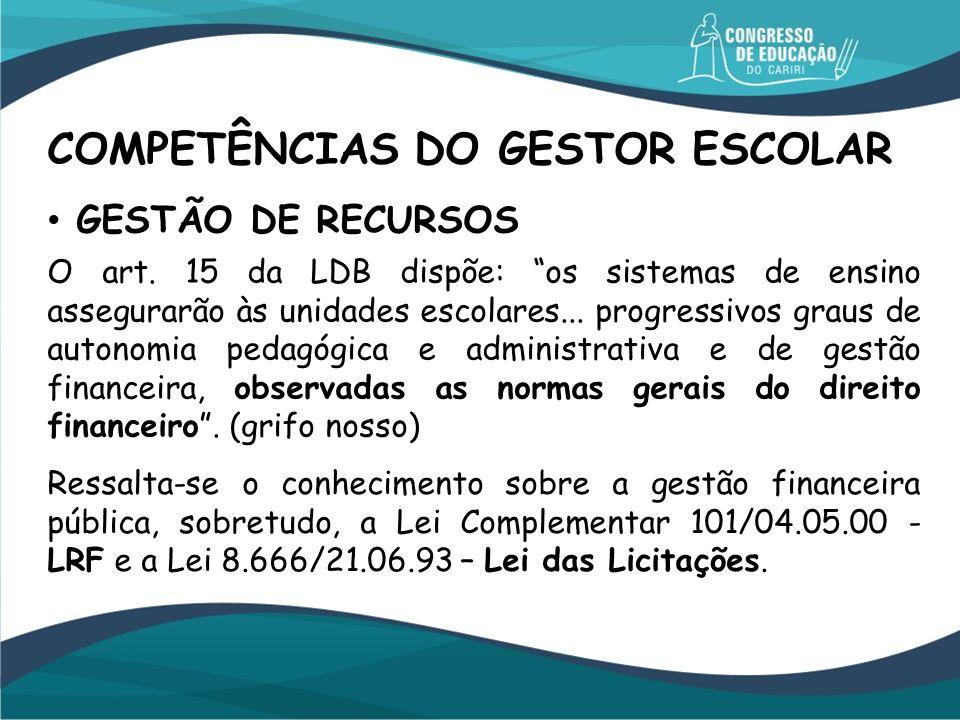 COMPETÊNCIAS DO GESTOR ESCOLAR