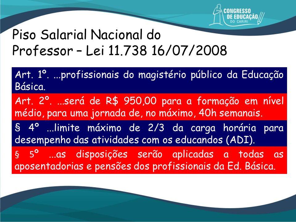 Piso Salarial Nacional do Professor – Lei 11.738 16/07/2008