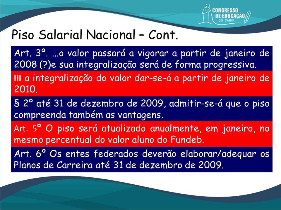 Piso Salarial Nacional – Cont.