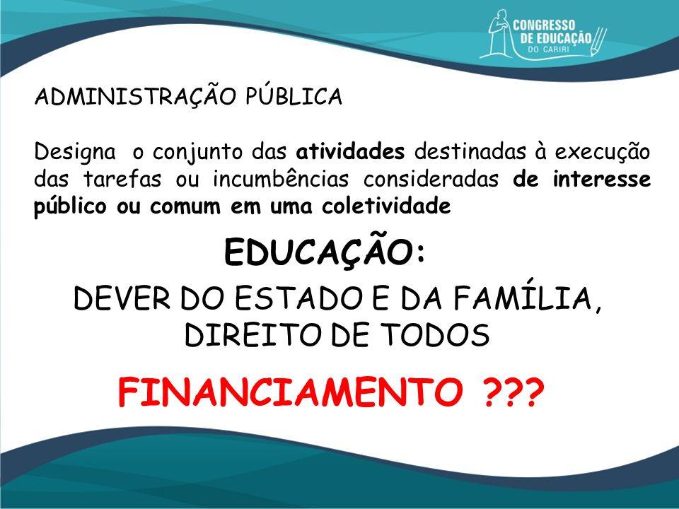 DEVER DO ESTADO E DA FAMÍLIA,