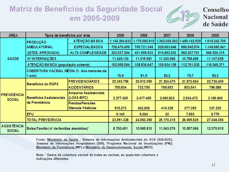 Matriz de Benefícios da Seguridade Social em 2005-2009