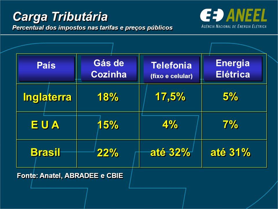 Carga Tributária Inglaterra 18% 17,5% 5% E U A 15% 4% 7% Brasil 22%