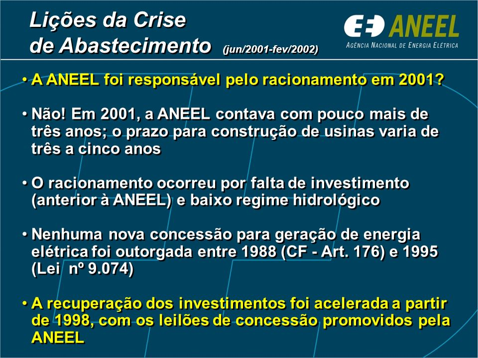 Lições da Crise de Abastecimento (jun/2001-fev/2002)