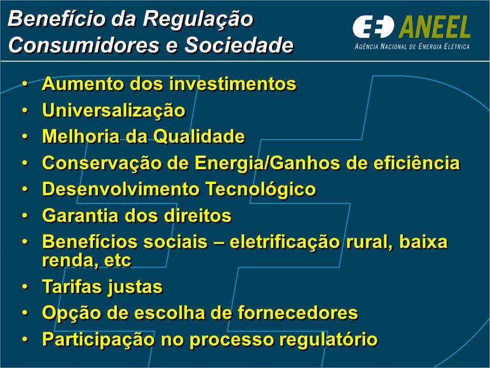 Benefício da Regulação Consumidores e Sociedade