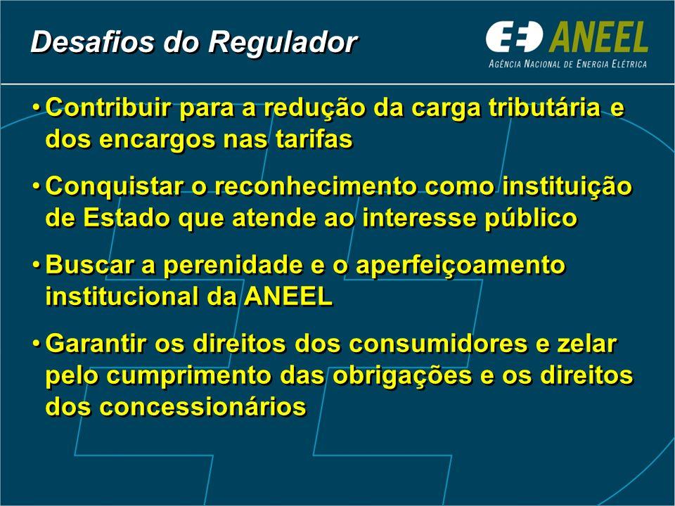 Desafios do Regulador Contribuir para a redução da carga tributária e dos encargos nas tarifas.