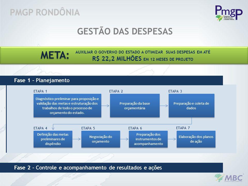 META: PMGP RONDÔNIA GESTÃO DAS DESPESAS