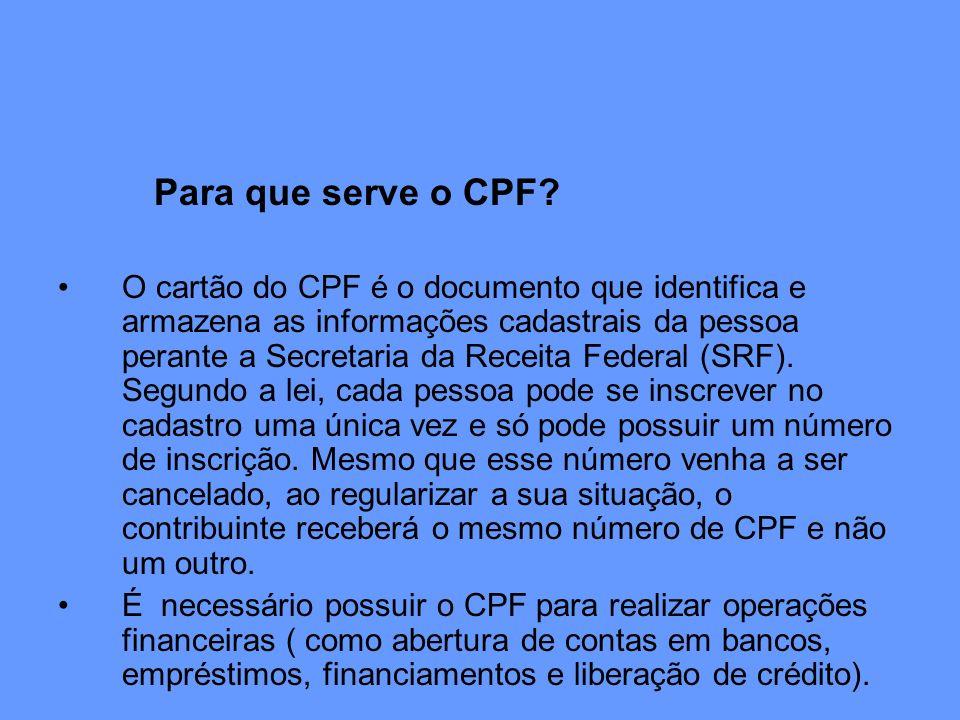 Para que serve o CPF