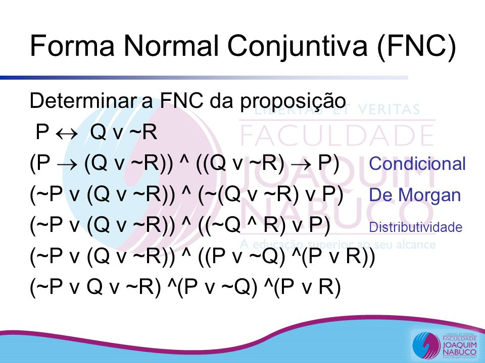 Forma Normal Conjuntiva (FNC)