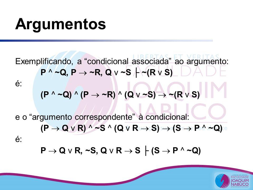 Argumentos Exemplificando, a condicional associada ao argumento: