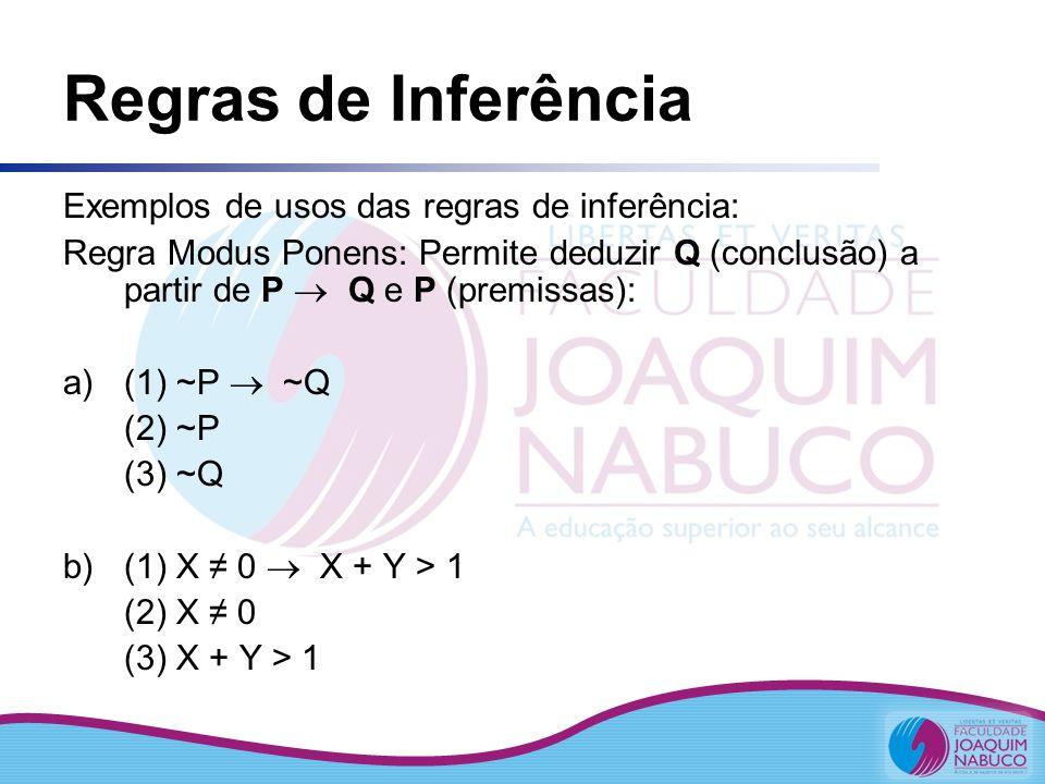 Regras de Inferência Exemplos de usos das regras de inferência: