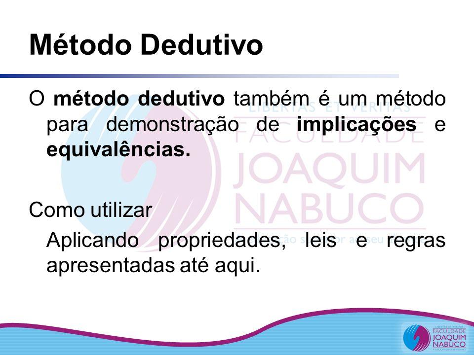 Método Dedutivo O método dedutivo também é um método para demonstração de implicações e equivalências.