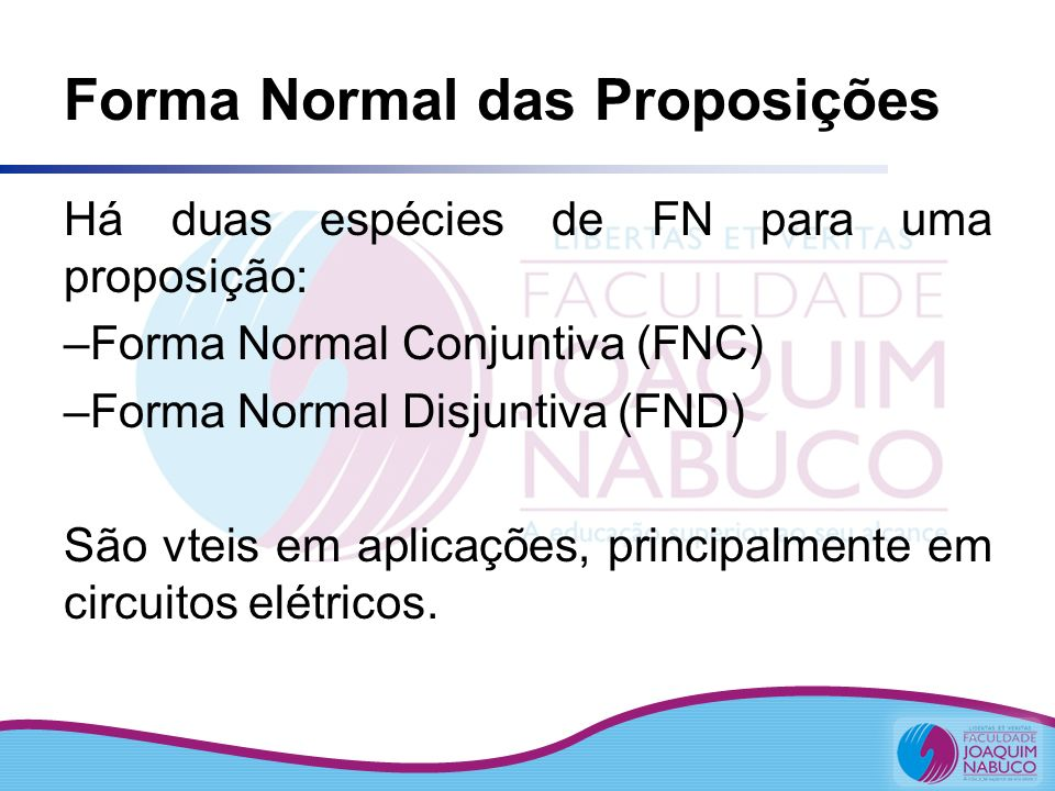 Forma Normal das Proposições