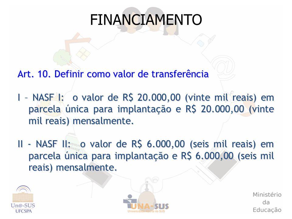 FINANCIAMENTO Art. 10. Definir como valor de transferência