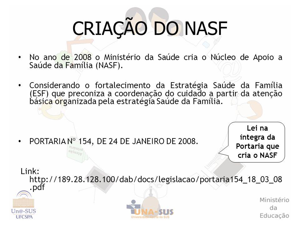 Lei na íntegra da Portaria que cria o NASF