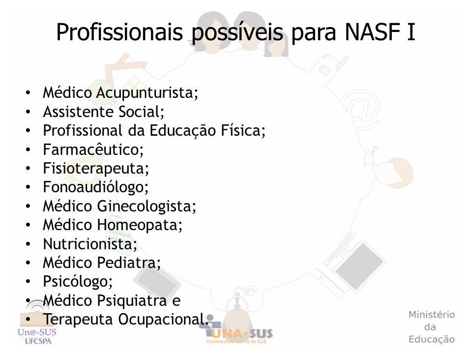 Profissionais possíveis para NASF I