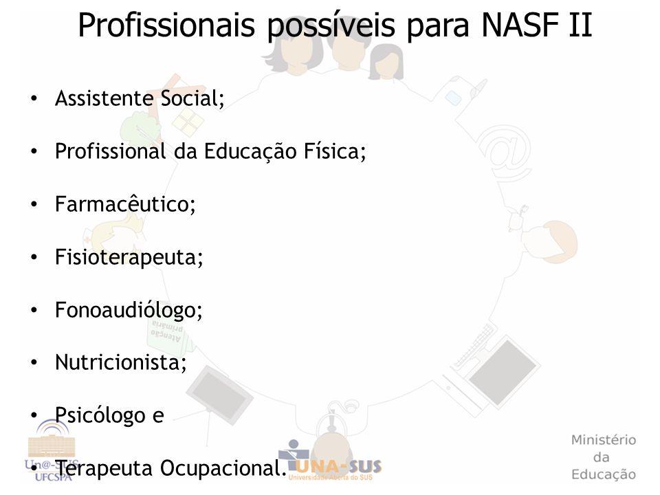 Profissionais possíveis para NASF II