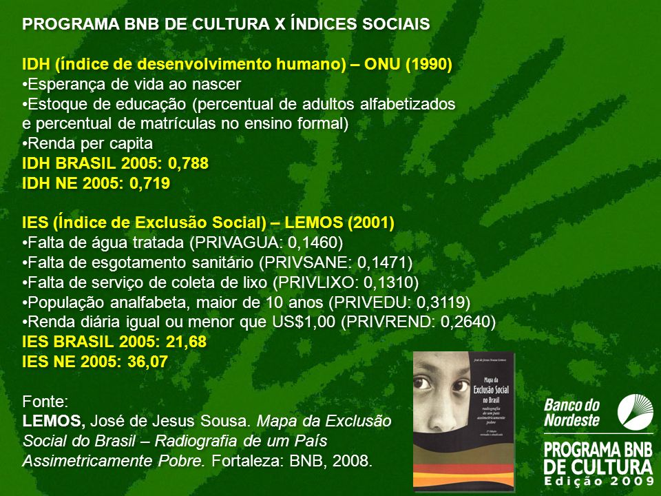 PROGRAMA BNB DE CULTURA X ÍNDICES SOCIAIS