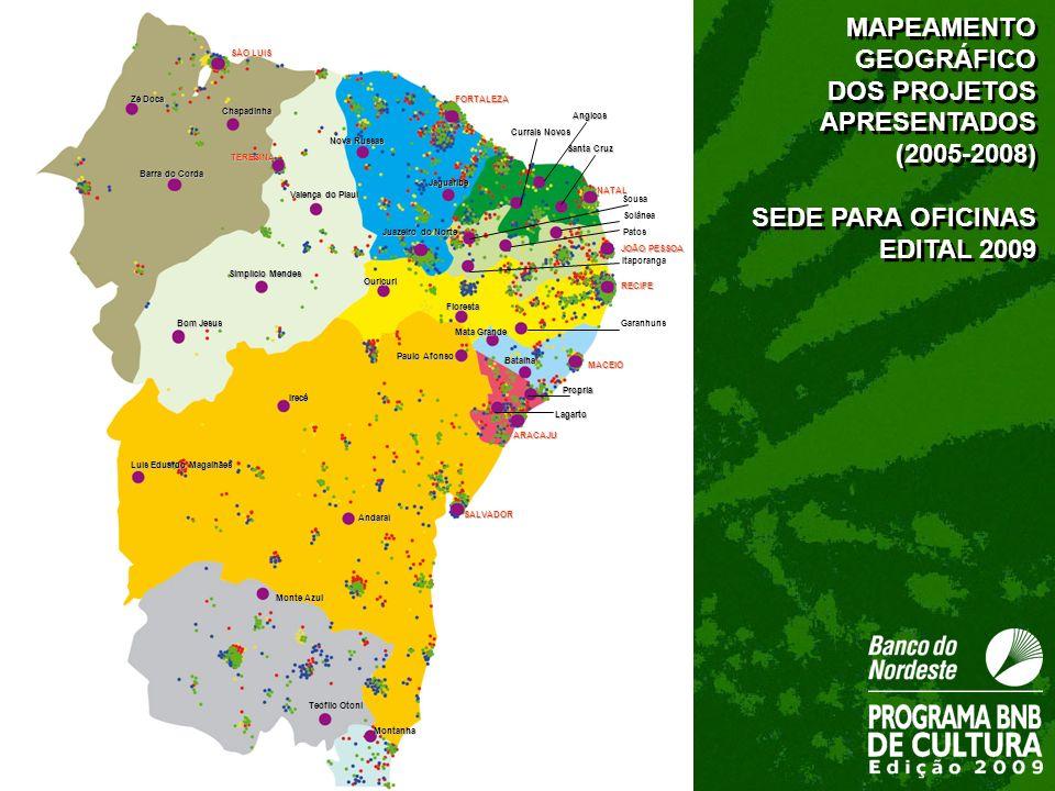 MAPEAMENTO GEOGRÁFICO DOS PROJETOS APRESENTADOS (2005-2008)