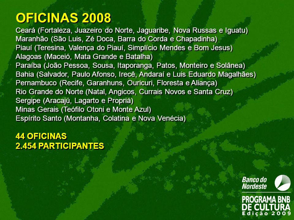 OFICINAS 2008 44 OFICINAS 2.454 PARTICIPANTES