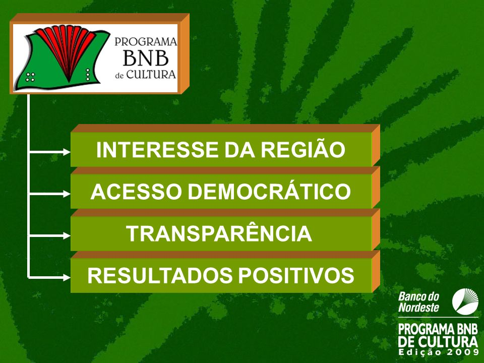 INTERESSE DA REGIÃO ACESSO DEMOCRÁTICO TRANSPARÊNCIA RESULTADOS POSITIVOS