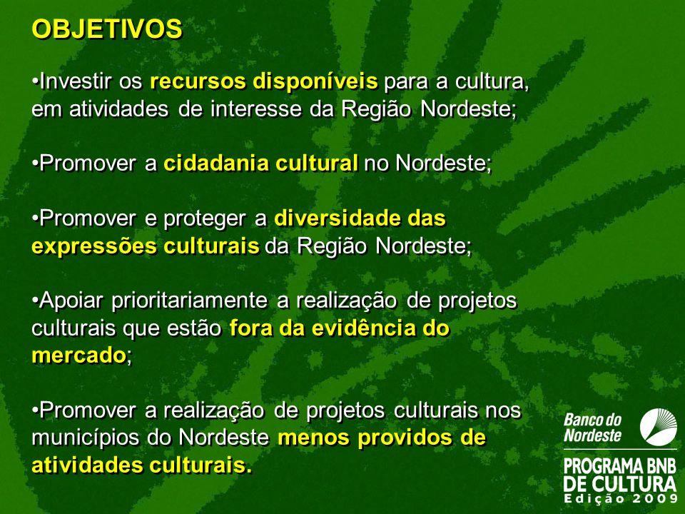 OBJETIVOS Investir os recursos disponíveis para a cultura, em atividades de interesse da Região Nordeste;