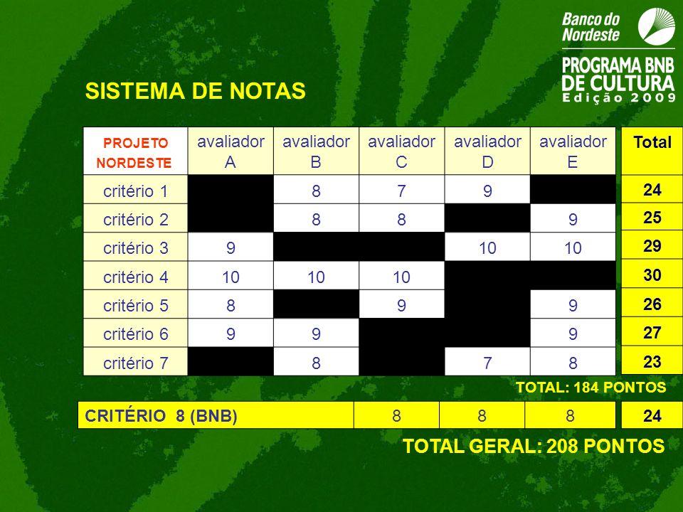 SISTEMA DE NOTAS TOTAL GERAL: 208 PONTOS avaliador A avaliador B