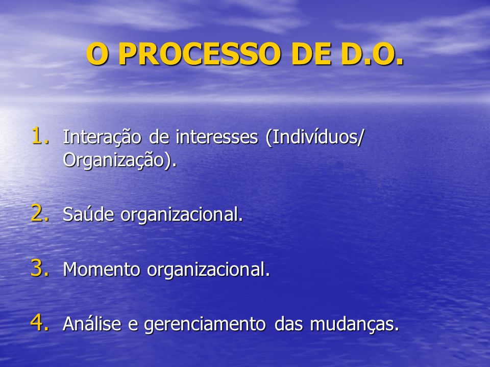 O PROCESSO DE D.O. Interação de interesses (Indivíduos/ Organização).