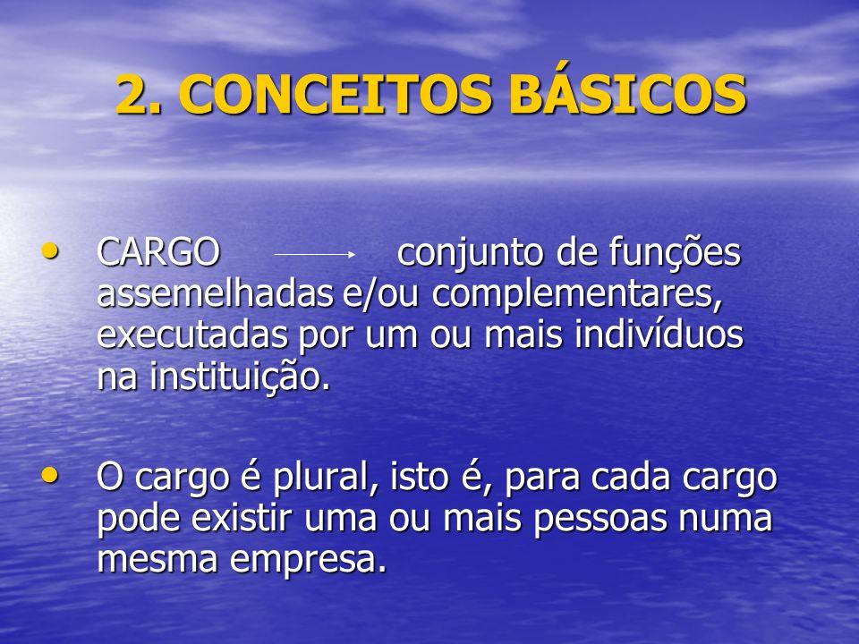 2. CONCEITOS BÁSICOS CARGO conjunto de funções assemelhadas e/ou complementares, executadas por um ou mais indivíduos na instituição.