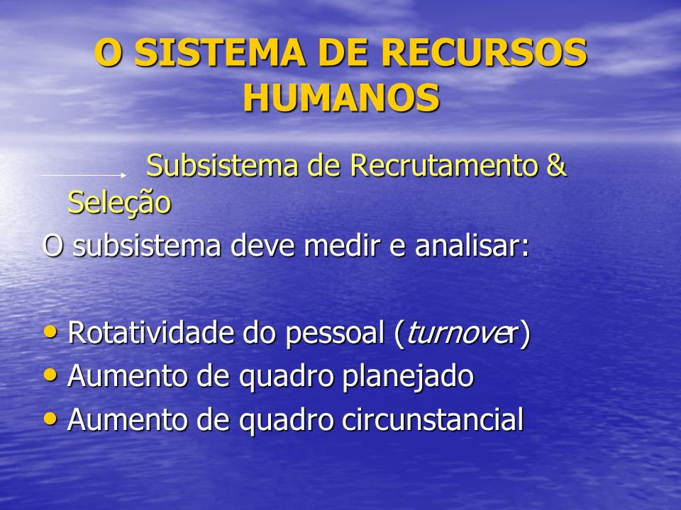 O SISTEMA DE RECURSOS HUMANOS