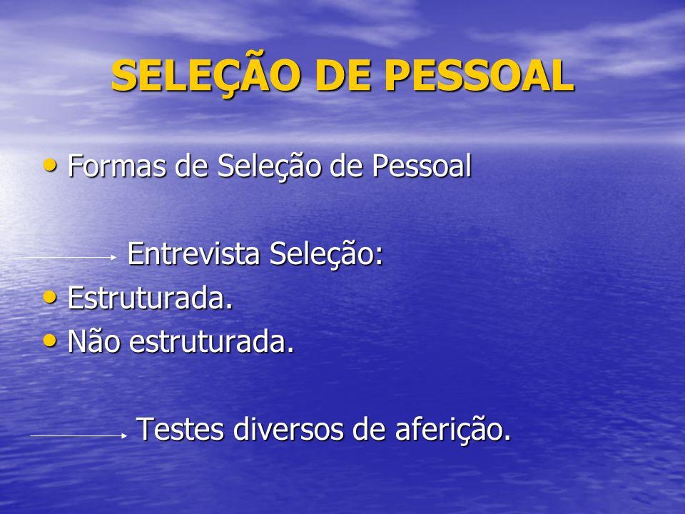 SELEÇÃO DE PESSOAL Formas de Seleção de Pessoal Entrevista Seleção: