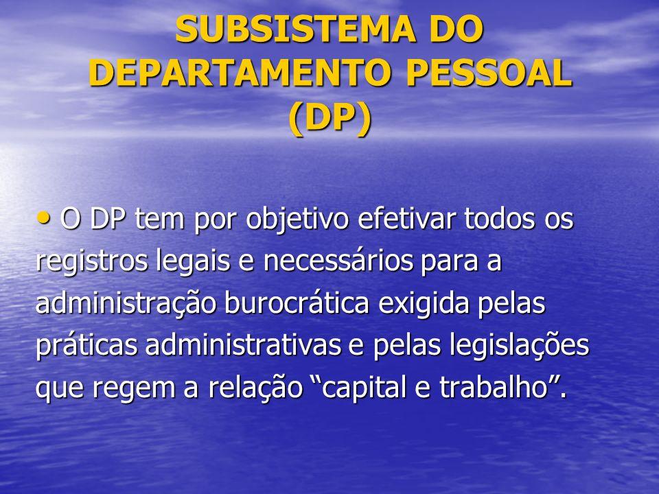 SUBSISTEMA DO DEPARTAMENTO PESSOAL (DP)
