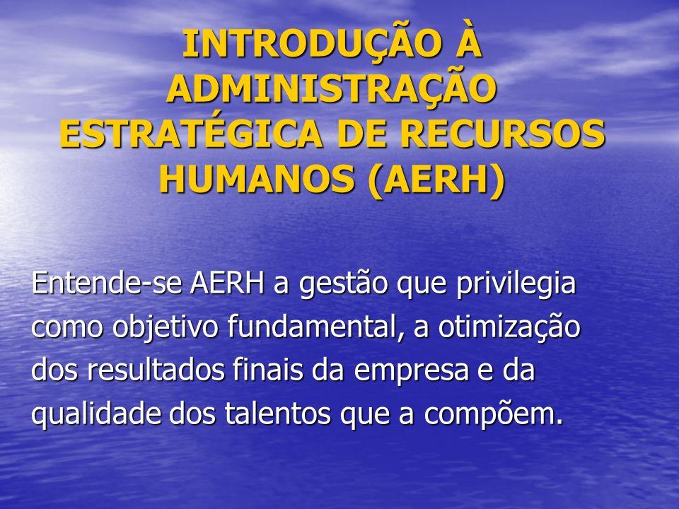 INTRODUÇÃO À ADMINISTRAÇÃO ESTRATÉGICA DE RECURSOS HUMANOS (AERH)