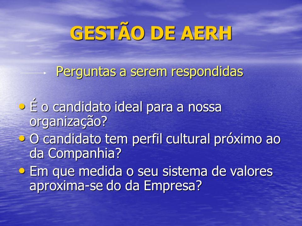 GESTÃO DE AERH Perguntas a serem respondidas