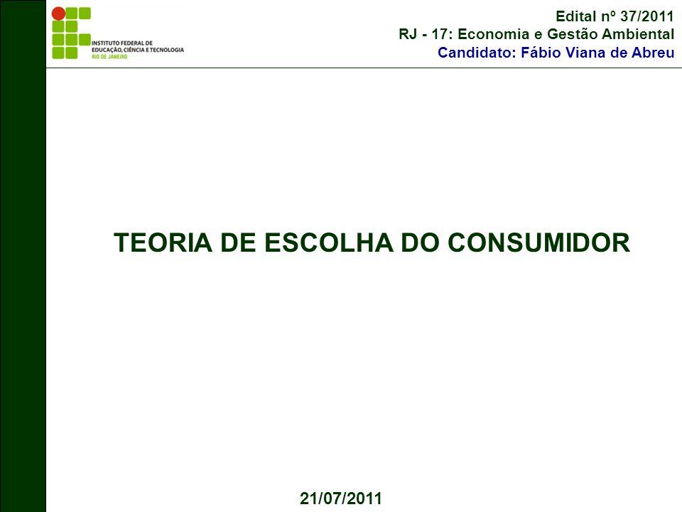TEORIA DE ESCOLHA DO CONSUMIDOR