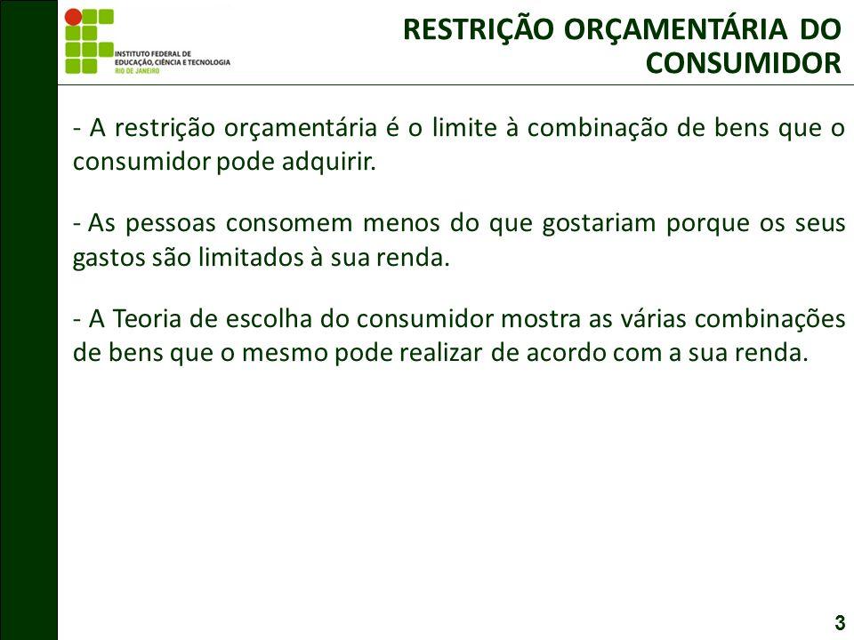 RESTRIÇÃO ORÇAMENTÁRIA DO CONSUMIDOR