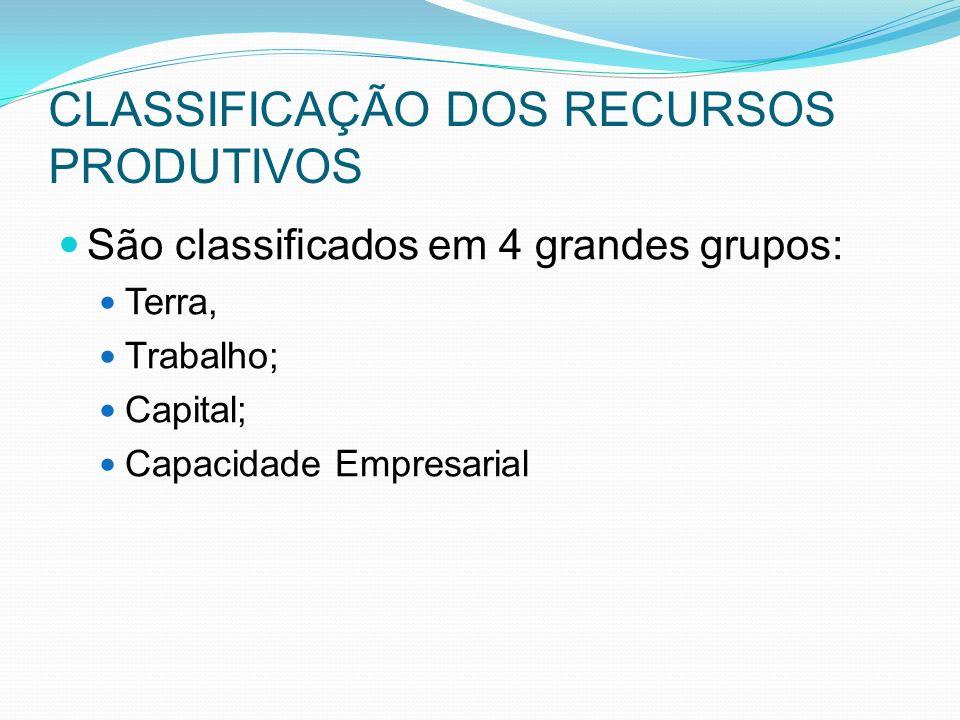 CLASSIFICAÇÃO DOS RECURSOS PRODUTIVOS