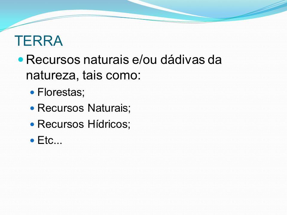 TERRA Recursos naturais e/ou dádivas da natureza, tais como:
