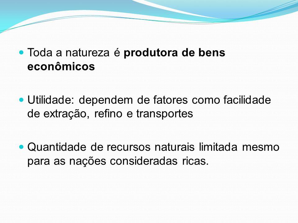 Toda a natureza é produtora de bens econômicos
