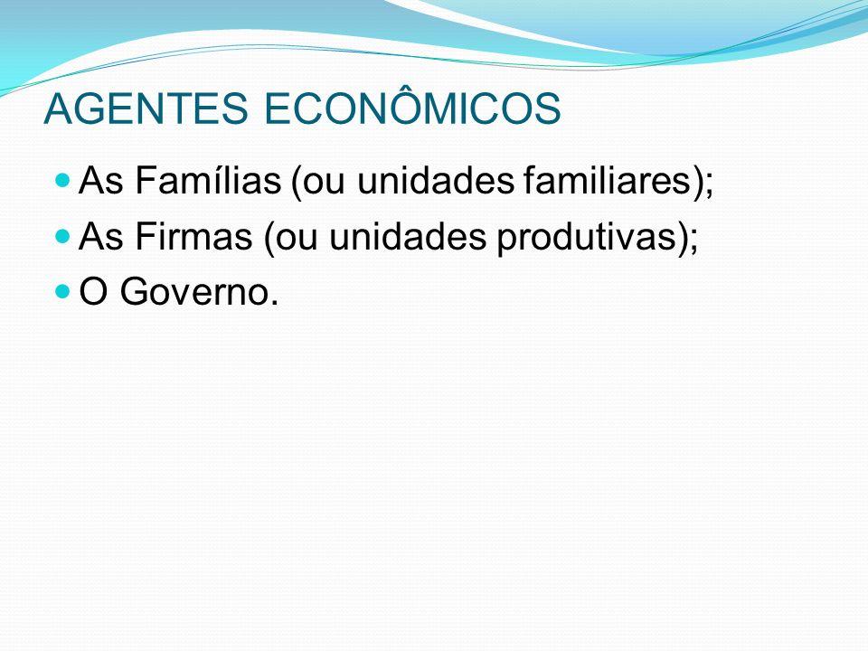 AGENTES ECONÔMICOS As Famílias (ou unidades familiares);