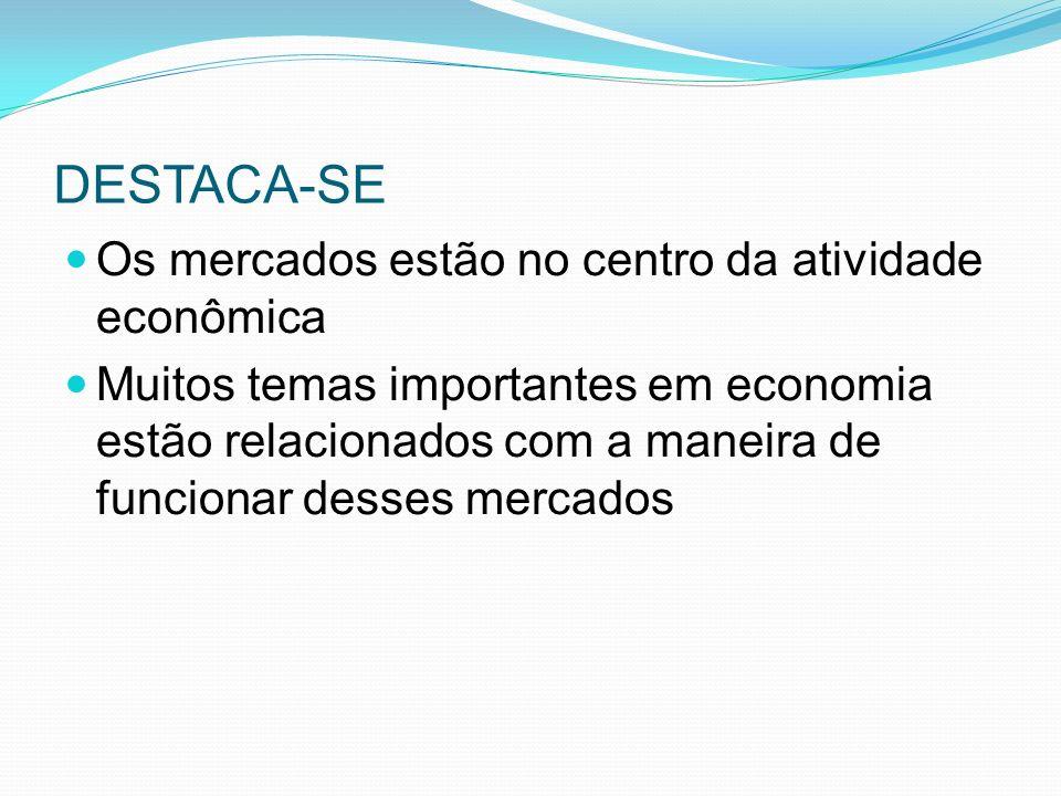 DESTACA-SE Os mercados estão no centro da atividade econômica