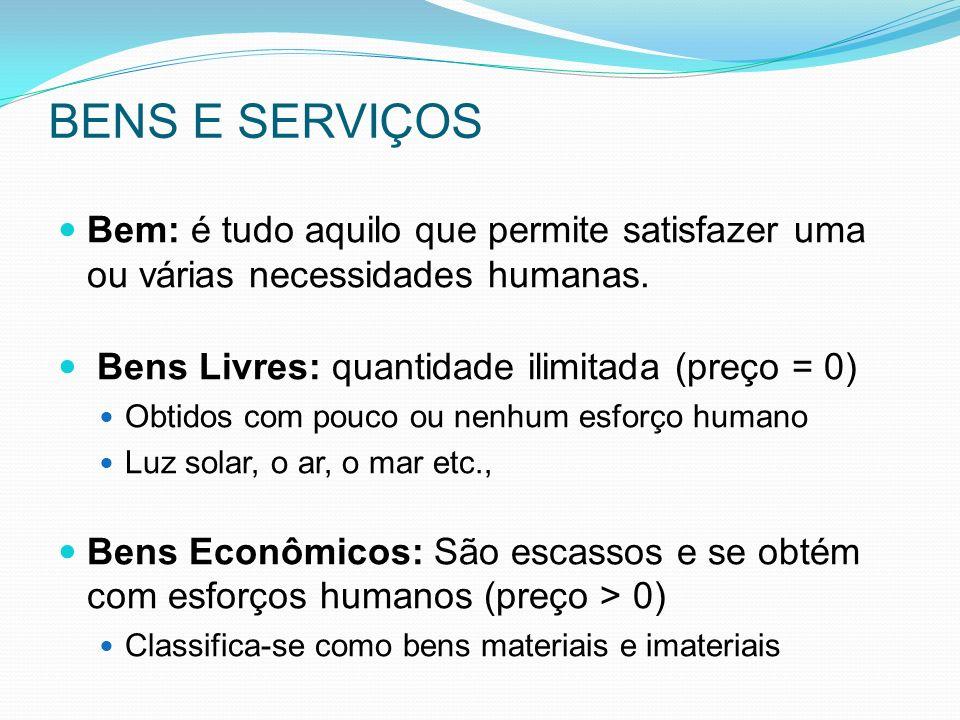 BENS E SERVIÇOS Bem: é tudo aquilo que permite satisfazer uma ou várias necessidades humanas. Bens Livres: quantidade ilimitada (preço = 0)