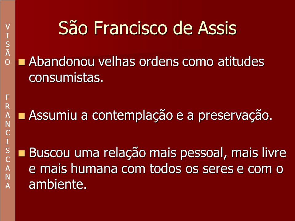 VI. S. Ã. O. F. R. A. N. C. São Francisco de Assis. Abandonou velhas ordens como atitudes consumistas.